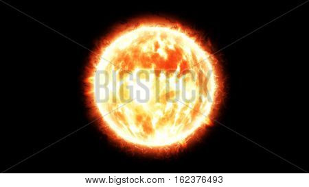burning sun with flares 3d render on black background