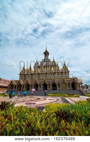 Uthai Thani, Thailand - August 12, 2016: On Mother's Day,Tourists are walking in gounds of Wat Thasung or Wat Chantaram in Uthai Thani Province, Thailand.