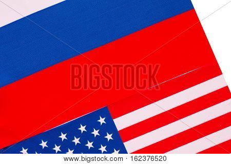 Flags of USA and Russia. Politics concept