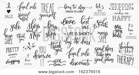 Lettering photography overlay set. Cute inspiration typography. Calligraphy photo graphic design element. Hand written sign decoration. Retail shopping promotion advertising