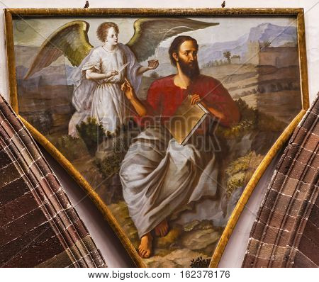 SAN MIGUEL DE ALLENDE, MEXICO - DECEMBER 28, 2014 Saint Matthew Winged Angel Gospel Writer Evangelist Painting Dome Convent Immaculate Conception The Nuns San Miguel de Allende Mexico. Convent of Immaculate Conception was created in 1754.