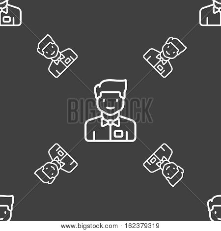 Waiter Icon Sign. Seamless Pattern On A Gray Background. Vector