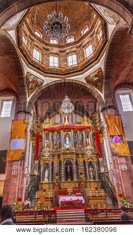 SAN MIGUEL DE ALLENDE, MEXICO - DECEMBER 28, 2014 Basilica Dome Christmas Convent Immaculate Conception The Nuns San Miguel de Allende Mexico. Convent of Immaculate Conception was created in 1754.