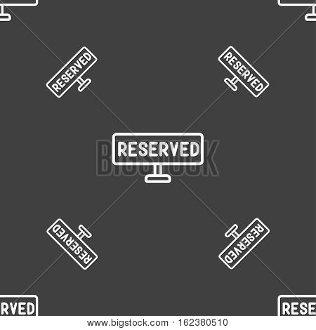 Reserved Icon Sign. Seamless Pattern On A Gray Background. Vector
