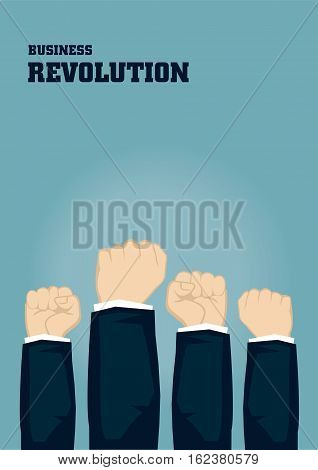 Raised hands holding fists on blue background with text Business Revolution. Creative concept vector business illustration.