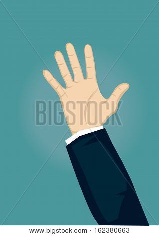 Raised hand with open palm facing in front and slight glow in background. Vector cartoon illustration isolated on green background.