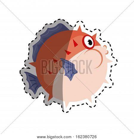 sea blowfish cartoon icon vector illustration graphic design