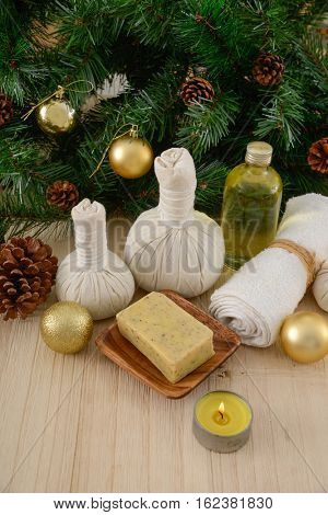 Christmas spa with Composition of treatment on wooden
