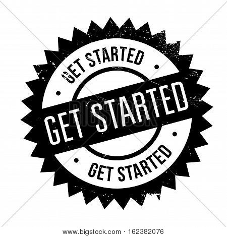 Get started stamp. Grunge design with dust scratches. Effects can be easily removed for a clean, crisp look. Color is easily changed.