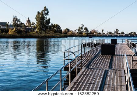 Floating fishing pier at Lake Murray reservoir in San Diego, California, part of Mission Trails Regional Park.