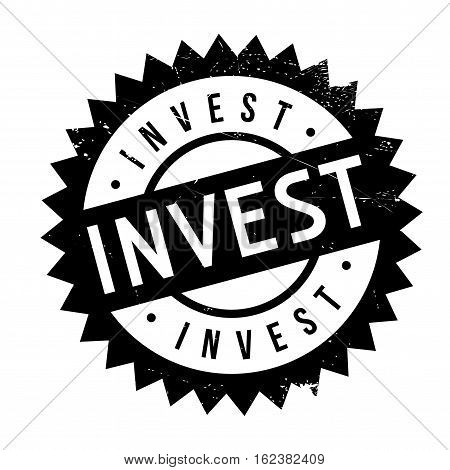 Invest stamp. Grunge design with dust scratches. Effects can be easily removed for a clean, crisp look. Color is easily changed.