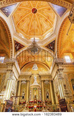 GUANAJUATO, MEXICO - JANUARY 1, 2015 Our Lady of Guanajuato Dome Basilica Altar Mary Statue Christmas Guanajuato Mexico Basilica de Nusetra Senora Guanajuato Mexico
