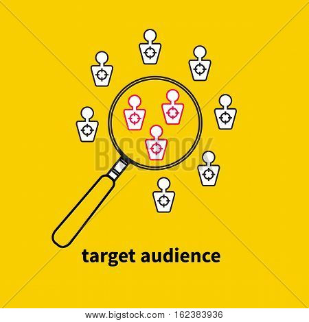 Icon logo target audience. Vector magnifying glass and people targets. Market research.