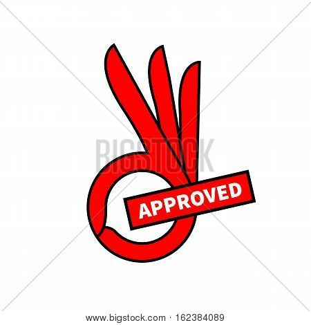 Approved icon. Logo ok. Vector illustration. Sign of approval