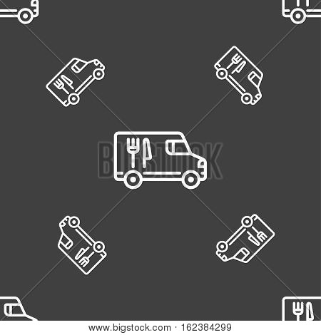 Food Truck Icon Sign. Seamless Pattern On A Gray Background. Vector