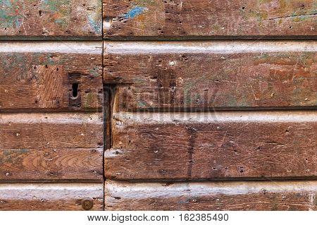 Decorative Detail Of An Old Wooden Door