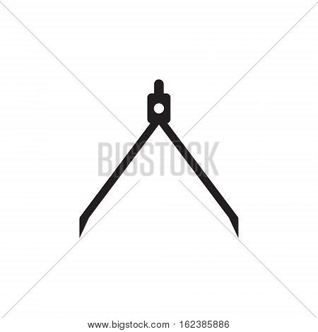 Vector icon or illustration showing building project with measuring caliper compasses in black color style on white background