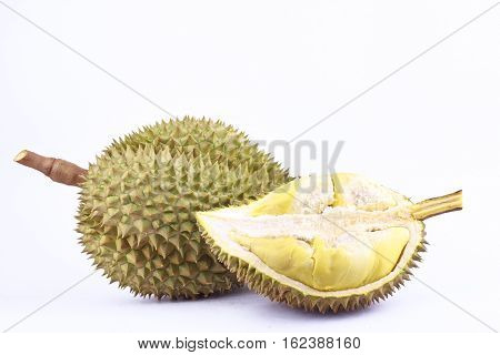 yellow durian  mon thong is king of fruits durian on white background healthy durian fruit food isolated close up