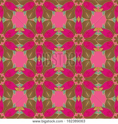 Mandalas background. Red pink green. Petal. Raster illustration.