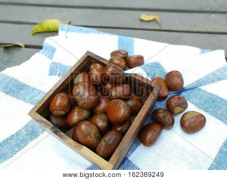 chestnuts in a bowl on an old wooden table. Group of chestnuts. Chestnuts - fruits horse chestnut. Autumn background. Selective focus.