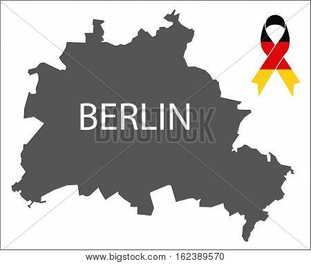 Berlin Condolence Map With Ribbon In German National Colours