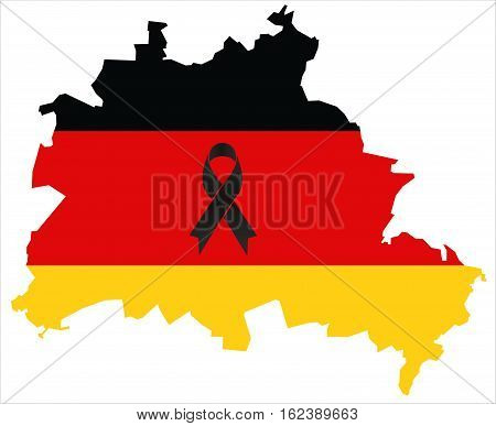 Berlin Condolence Map - Black Ribbon With German Flag
