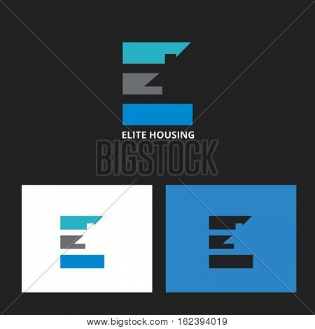 elite housing logo. letter E with house element in negative space