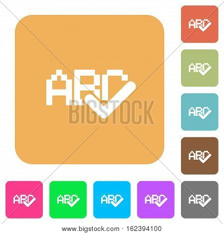 Spell check icons on rounded square vivid color backgrounds.