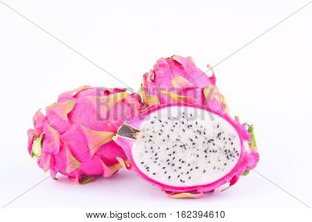 dessert vivid and vibrant organic dragon fruit (dragonfruit) or pitaya on white background healthy dragon fruit food isolated