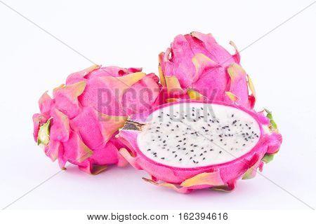 fresh   organic dragon fruit (dragonfruit) or pitaya on white background healthy dragonfruit food isolated