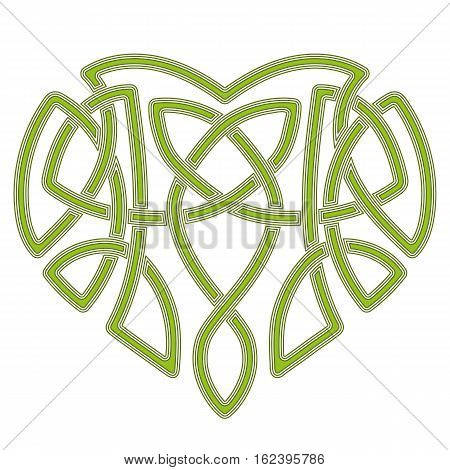 Celtic pattern heart, intertwine knot ethnic symbol