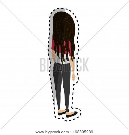 Young woman body complete icon vector illustration graphic design