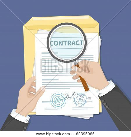 Contract inspection concept. Hands holding magnifying glass over a contract. Contract with signatures and seals. Research documents.