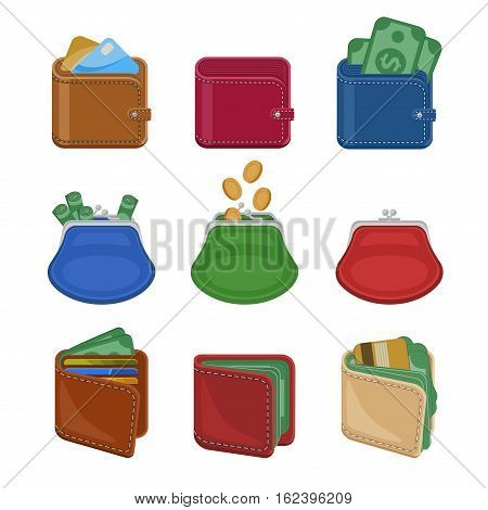 Collection of various open and closed purses and wallets with money, cash, gold coins, credit cards. Set of different business and finance symbols. Vector illustration isolated on a white background