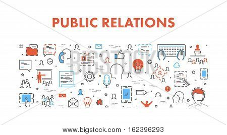 Line web concept for public relations. Vector cool banner for pr.