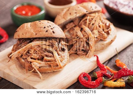 American pulled pork sandwich in wholegrain burger bun