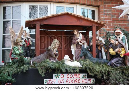 BROOKLYN, NEW YORK - DECEMBER 8, 2016: Christmas house decoration display in the suburban Brooklyn neighborhood of Dyker Heights