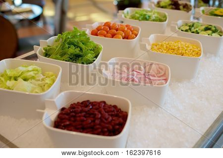 Vegetable Ingredients On A Salad Bar
