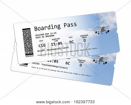 Airline boarding pass tickets isolated on white The image is totally invented and does not contain under copyright parts. The background images are my property.