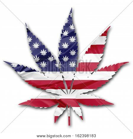 The national flag of United States in Marijuana leaf illustration with leafs as stars, isolated on white background. American cannabis legalization concept.