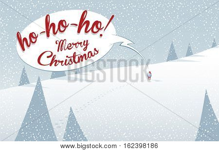Winter mountain landscape scenery walking Santa Claus with his bag full of presents in deep snow and speech bubble with Ho-ho-ho Merry Christmas text.