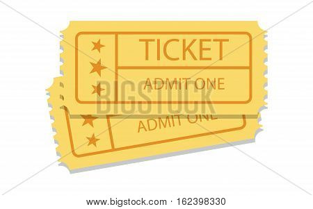 pair of golden vintage cinema tickets on white. Vector icon.