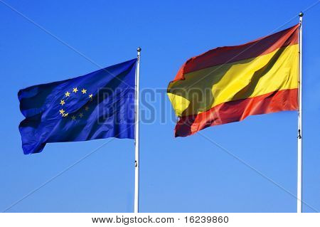 European and Spanish flags
