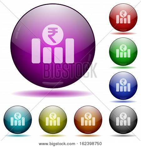 Indian Rupee graph color glass sphere buttons with shadows.