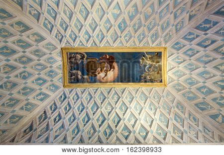 MANTUA,  ITALY - MAY 2 2016: Palazzo Te in Mantua is a major tourist attraction. The ceiling frescoes are the most remarkable feature if the palace built in the mannerist architectural style 1524-1534 for Federico II Gonzaga Marquess of Mantua. Italy