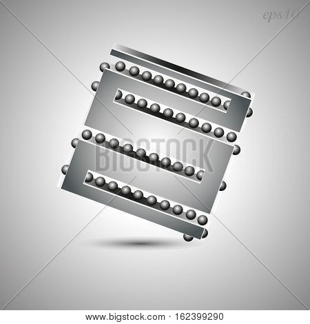 Square and balls abstraction Decoration author logo design metal conundrum silver gray slot illusion print handmade shadow stock vector eps10 illustration
