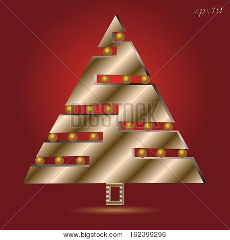 Tree feast of abstract metal The holiday a greeting the new year the author of the design triangle geometry of the gold ball Christmas yellow shadow pearl Stock eps10 vector illustration