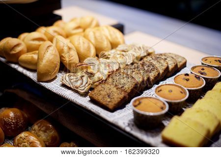 Assorted pastries and bread buffet in restaurant