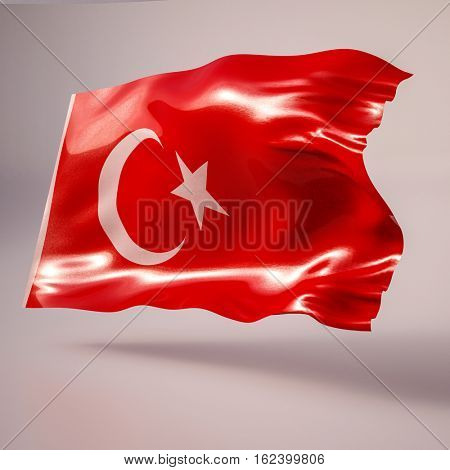 3d rendering: Realistic Waving Flag of Turkey. Flag Has Real Fabric Texture