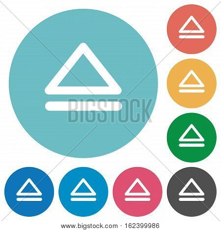 Media eject flat white icons on round color backgrounds
